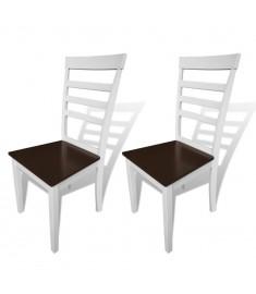Καρέκλες Τραπεζαρίας 2 τεμ. Καφέ/Λευκό από Μασίφ Ξύλο   241694