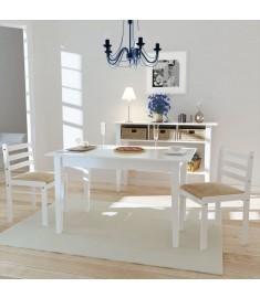 Καρέκλες Τραπεζαρίας Τετράγωνες 2 τεμ. Λευκές Ξύλινες   242030