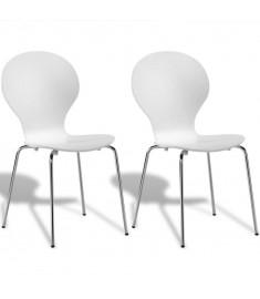 Καρέκλες Τραπεζαρίας Butterfly Στοιβαζόμενες 2 τεμ. Λευκές  241964