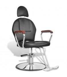 Επαγγελματική Καρέκλα Κουρείου με Στήριγμα Κεφαλής από Δερματίνη Μαύρη  110122