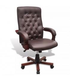 Καρέκλα Γραφείου Chesterfield από Δερματίνη Καφέ  20110