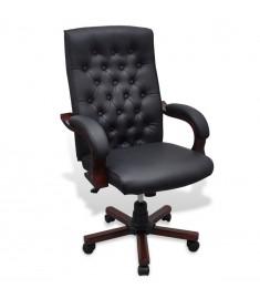 Καρέκλα Γραφείου Chesterfield από Δερματίνη Μαύρη  20111