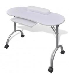 Αναδιπλούμενο Τραπέζι Μανικιούρ με Ροδάκια Λευκό   110124