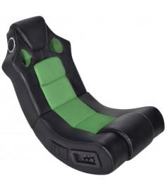 Πολυθρόνα Κουνιστή Μουσική Μαύρη Πράσινη από Συνθετικό Δέρμα  241962