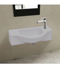 Νιπτήρας Μπάνιου με Οπή Βρύσης Λευκός Κεραμικός  141930