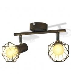 Φωτιστικό Σποτ Ράγα Βιομηχανικό Στυλ Μαύρο με 2 Λαμπτήρες LED Filament   242266