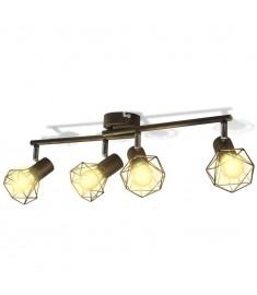 Φωτιστικό Σποτ Ράγα Βιομηχανικό Στυλ Μαύρο με 4 Λαμπτήρες LED Filament   242267
