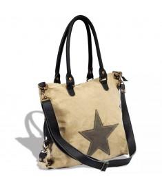 Τσάντα Shopper με Αστέρι Μπεζ από Καμβά και Γνήσιο Δέρμα   130856