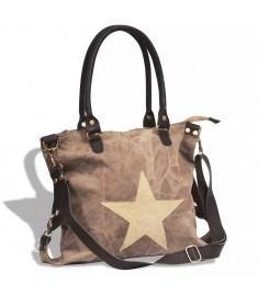 Τσάντα Shopper με Αστέρι Καφέ από Καμβά και Γνήσιο Δέρμα  130857
