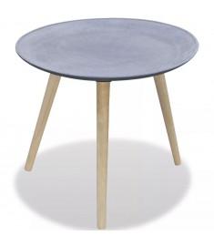 Τραπέζι Βοηθητικό/Σαλονιού Στρογγυλό Γκρι Όψη Σκυροδέματος    242231