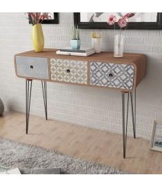 Κονσόλα Τραπέζι / Συρταριέρα με 3 Συρτάρια Καφέ    242240