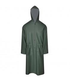 Καπαρντίνα Αδιάβροχη Μεγάλης Αντοχής Μακριά Πράσινη XXL με Κουκούλα  130775