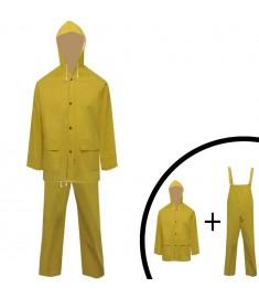 Κοστούμι Αδιάβροχο Μεγάλης Αντοχής 2 Τεμαχίων Κίτρινο L με Κουκούλα  130777