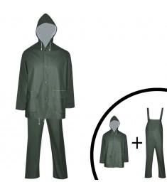 Κοστούμι Αδιάβροχο Μεγάλης Αντοχής 2 Τεμαχίων Πράσινο L με Κουκούλα  130781