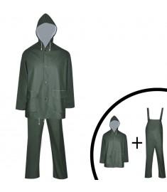 Κοστούμι Αδιάβροχο Μεγάλης Αντοχής 2 Τεμαχίων Πράσινο XXL με Κουκούλα  130783