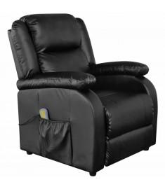 Πολυθρόνα Μασάζ Ηλεκτρική Ρυθμιζόμενη Μαύρη Συνθετικό Δέρμα    242512