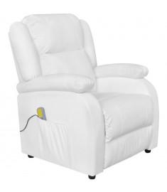 Πολυθρόνα Μασάζ Ηλεκτρική Ρυθμιζόμενη Λευκή Συνθετικό Δέρμα    242513