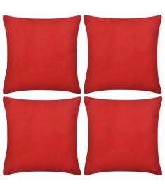 Καλύμματα Μαξιλαριών 4 τεμ. Κόκκινα 80 x 80 εκ. Βαμβακερά