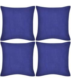 Καλύμματα Μαξιλαριών 4 τεμ. Μπλε 40 x 40 εκ. Βαμβακερά