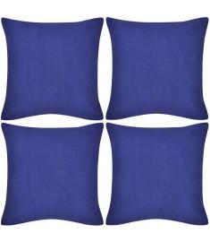 Καλύμματα Μαξιλαριών 4 τεμ. Μπλε 50 x 50 εκ. Βαμβακερά