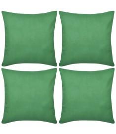 Καλύμματα Μαξιλαριών 4 τεμ. Πράσινα 40 x 40 εκ. Βαμβακερά