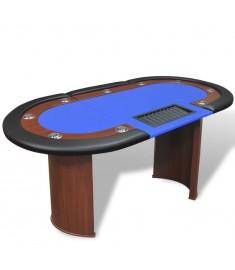 Τραπέζι Πόκερ 10 Ατόμων με Θέση Dealer και Θήκη για Μάρκες Μπλε   80134
