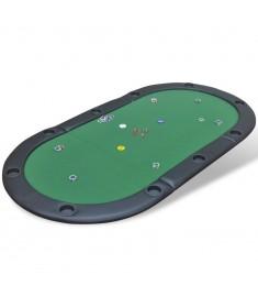 Επιφάνεια Τραπεζιού Πόκερ 10 Ατόμων Αναδιπλούμενη Πράσινη   80135