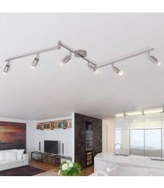Φωτιστικό Σποτ Ράγα Οροφής με 6 Προβολείς LED Σατινέ Νικελίου   50468