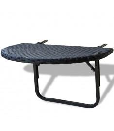 Τραπέζι Μπαλκονιού Πτυσσόμενο Μαύρο από Συνθετικό Ρατάν  41789
