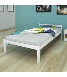 Κρεβάτι Λευκό 90 x 200 εκ. από Μασίφ Ξύλο Πεύκου   242499