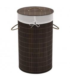 Καλάθι Απλύτων Στρογγυλό Σκούρο Καφέ από Μπαμπού   242724