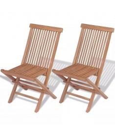 Καρέκλες Κήπου Πτυσσόμενες 2 τεμ. από Μασίφ Ξύλο Teak  41993