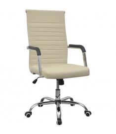 vidalXL Καρέκλα Γραφείου Κρεμ 55 x 63 εκ. από Συνθετικό Δέρμα  20125