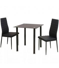 Σετ Τραπεζαρίας και Καρέκλας Τριών Τεμαχίων Μαύρο  242932