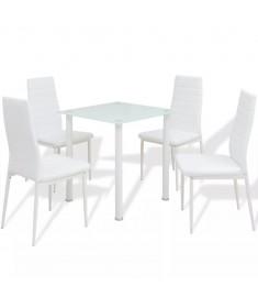 Σετ Τραπεζαρίας και Καρέκλας Πέντε Τεμαχίων Λευκό   242935