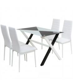 Τραπεζαρία και Καρέκλες Πέντε Τεμάχια από Συνθετικό Δέρμα  242941