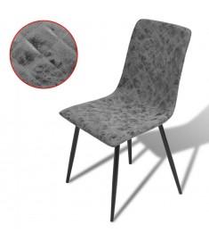 Καρέκλες Τραπεζαρίας 2 τεμ. Σκούρο Γκρι από Συνθετικό Δέρμα   242758