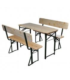 Τραπέζι Μπύρας Πτυσσόμενο με 2 Παγκάκια 118 εκ. από Ξύλο Ελάτης  42205