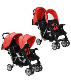 Καροτσάκι για Δύο Παιδιά Κόκκινο / Μαύρο Ατσάλινο    10111