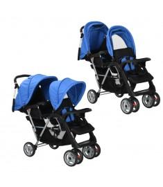 Καροτσάκι για Δύο Παιδιά Μπλε / Μαύρο Ατσάλινο    10112