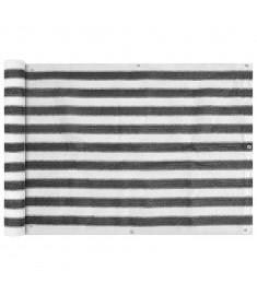 Διαχωριστικό Βεράντας Ανθρακί και Λευκό 75 x 400 εκ. από HDPE  42316