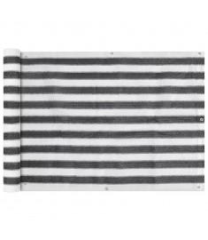 Διαχωριστικό Βεράντας Ανθρακί και Λευκό 75 x 600 εκ. από HDPE  42317