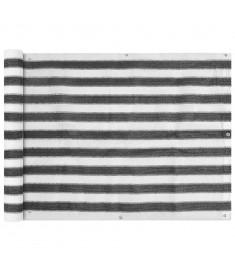 Διαχωριστικό Βεράντας Ανθρακί και Λευκό 90 x 400 εκ. από HDPE  42318
