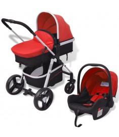 Καροτσάκι Παιδικό 3 σε 1 Κόκκινο και Μαύρο Αλουμινίου   10114