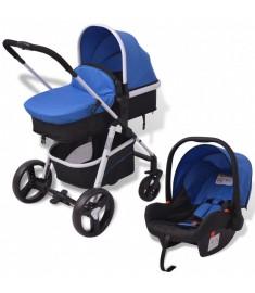 Καροτσάκι Παιδικό 3 σε 1 Μπλε και Μαύρο Αλουμινίου   10115