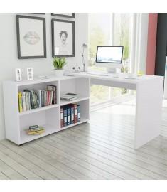 Γραφείο Γωνιακό με 4 Ράφια Λευκό  243060