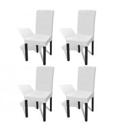 Κάλυμμα Καρέκλας Ελαστικό Ίσιο 4 τεμ. Λευκό   131418