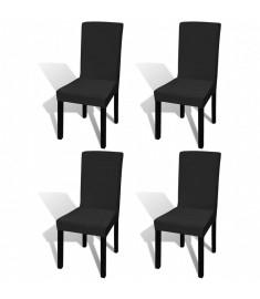 Κάλυμμα Καρέκλας Ελαστικό Ίσιο 4 τεμ. Μαύρο