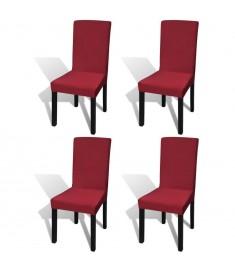 Κάλυμμα Καρέκλας Ελαστικό Ίσιο 4 τεμ. Μπορντό   131420