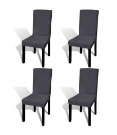 Κάλυμμα Καρέκλας Ελαστικό Ίσιο 4 τεμ. Ανθρακί